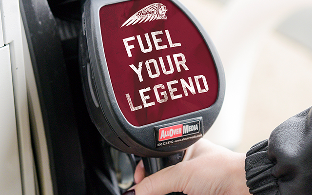 "Gas pump advertisement that reads ""Fuel Your Legend""."