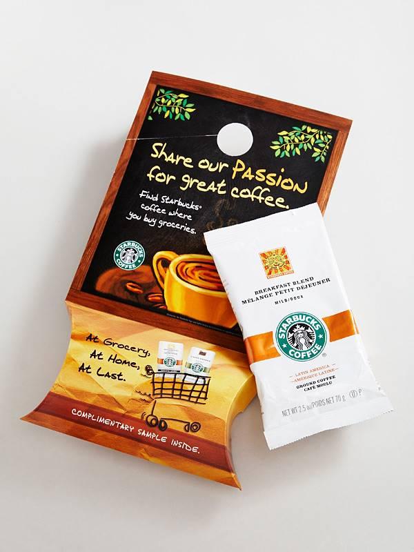 Starbucks door hanger with coffee sample